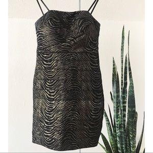 Metallic Zebra Striped Dress